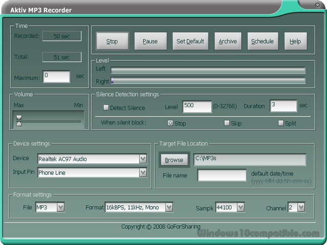 Aktiv MP3 Recorder 4.4.0 Free download